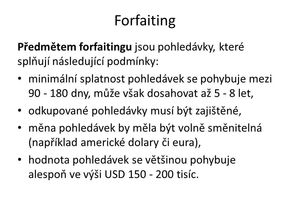 Forfaiting Předmětem forfaitingu jsou pohledávky, které splňují následující podmínky: