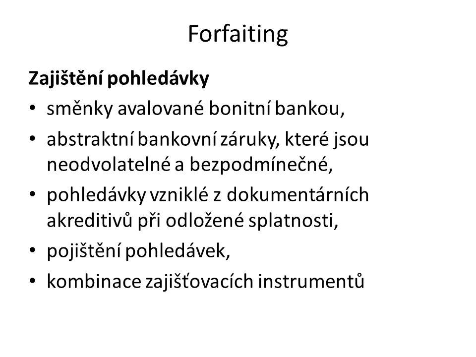 Forfaiting Zajištění pohledávky směnky avalované bonitní bankou,