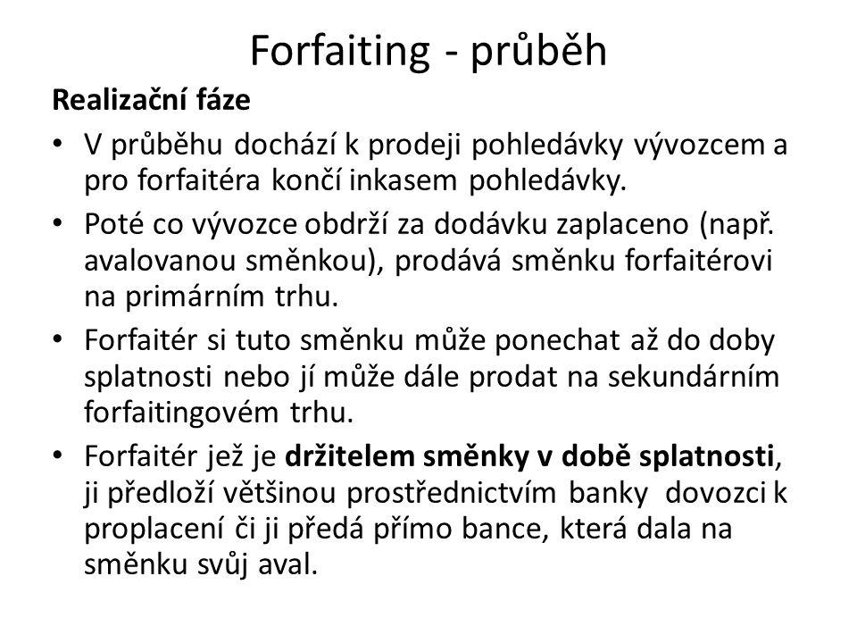 Forfaiting - průběh Realizační fáze