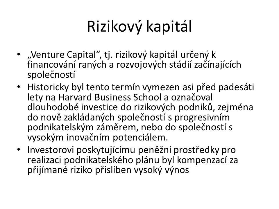 """Rizikový kapitál """"Venture Capital , tj. rizikový kapitál určený k financování raných a rozvojových stádií začínajících společností."""