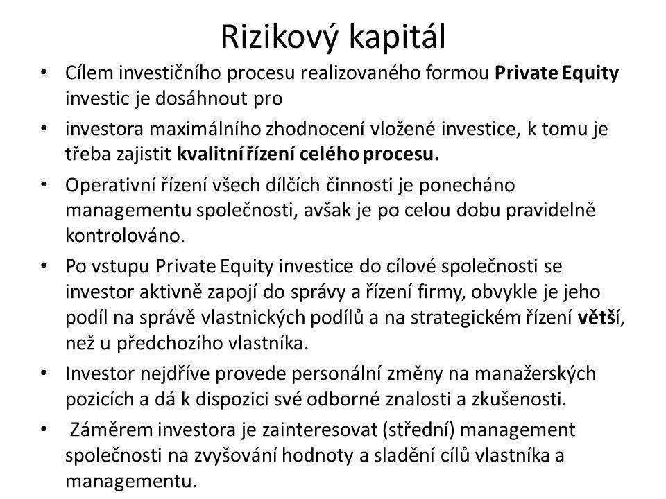 Rizikový kapitál Cílem investičního procesu realizovaného formou Private Equity investic je dosáhnout pro.