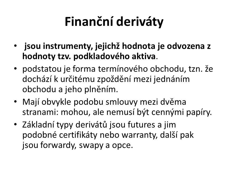 Finanční deriváty jsou instrumenty, jejichž hodnota je odvozena z hodnoty tzv. podkladového aktiva.