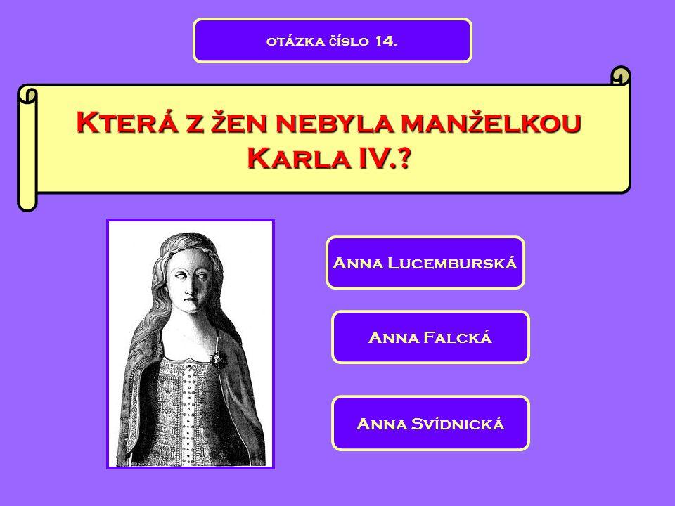 Která z žen nebyla manželkou Karla IV.