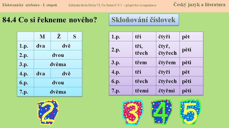 84.4 Co si řekneme nového Skloňování číslovek M Ž S 1.p. dva dvě 2.p.