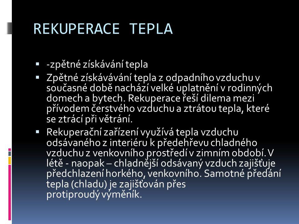REKUPERACE TEPLA -zpětné získávání tepla