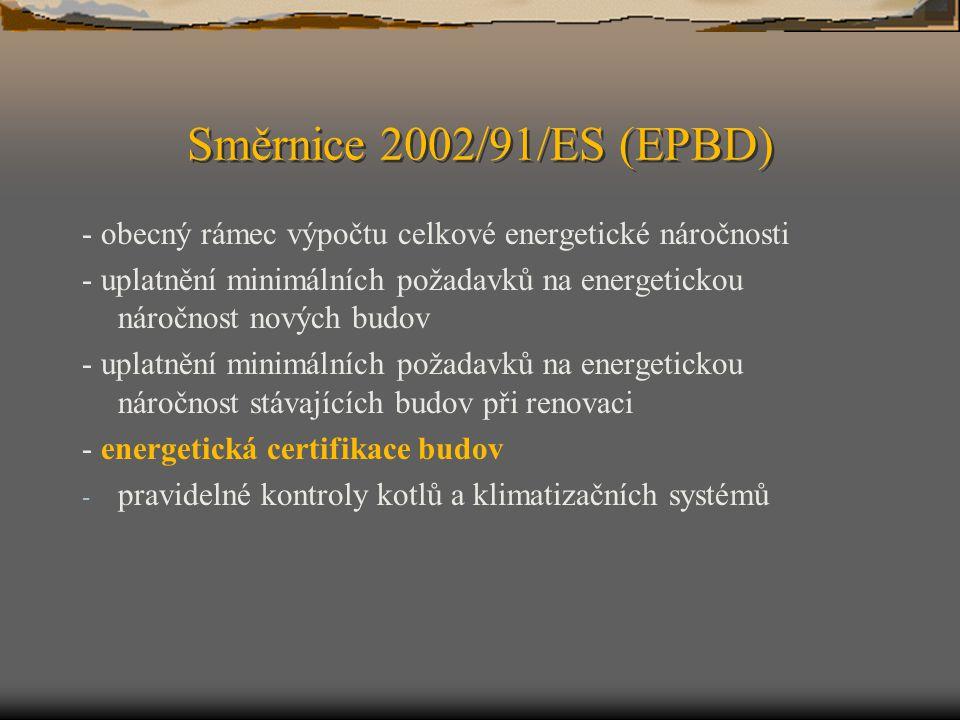 Směrnice 2002/91/ES (EPBD) - obecný rámec výpočtu celkové energetické náročnosti.