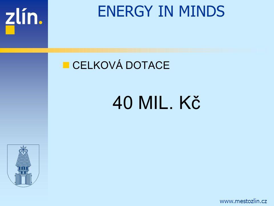 ENERGY IN MINDS CELKOVÁ DOTACE 40 MIL. Kč
