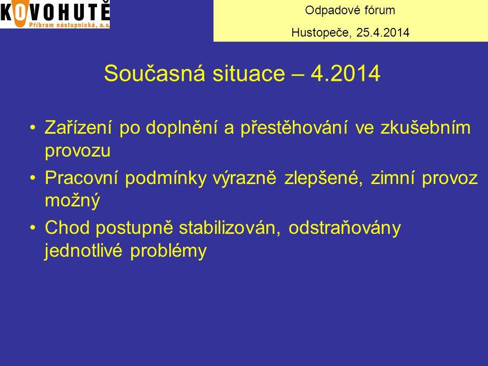 Odpadové fórum Hustopeče, 25.4.2014. Současná situace – 4.2014. Zařízení po doplnění a přestěhování ve zkušebním provozu.