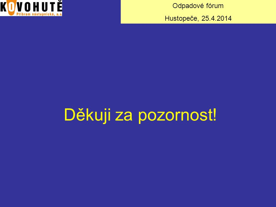 Odpadové fórum Hustopeče, 25.4.2014 Děkuji za pozornost!