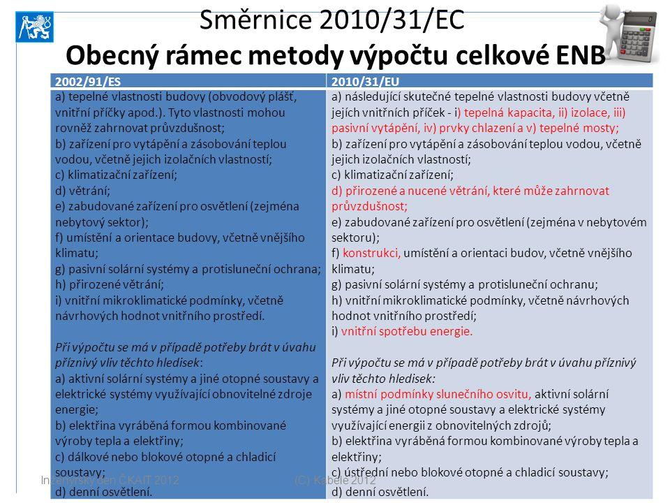 Směrnice 2010/31/EC Obecný rámec metody výpočtu celkové ENB