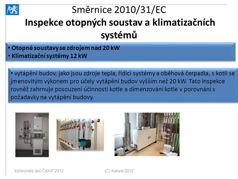 Směrnice 2010/31/EC Inspekce otopných soustav a klimatizačních systémů