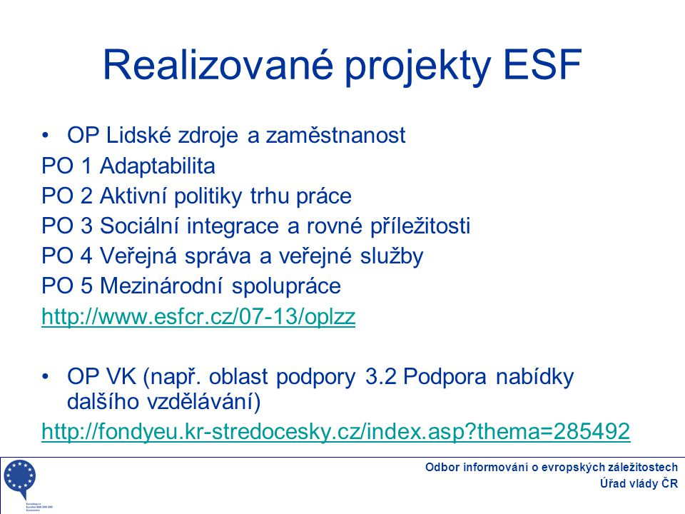 Realizované projekty ESF