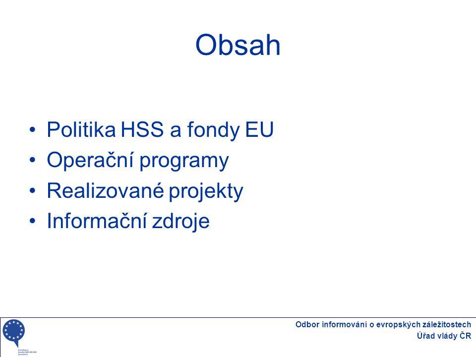 Obsah Politika HSS a fondy EU Operační programy Realizované projekty