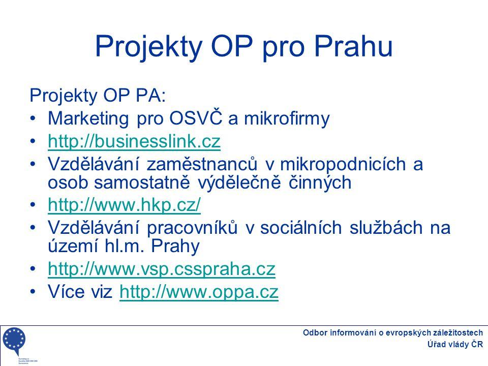 Projekty OP pro Prahu Projekty OP PA: Marketing pro OSVČ a mikrofirmy