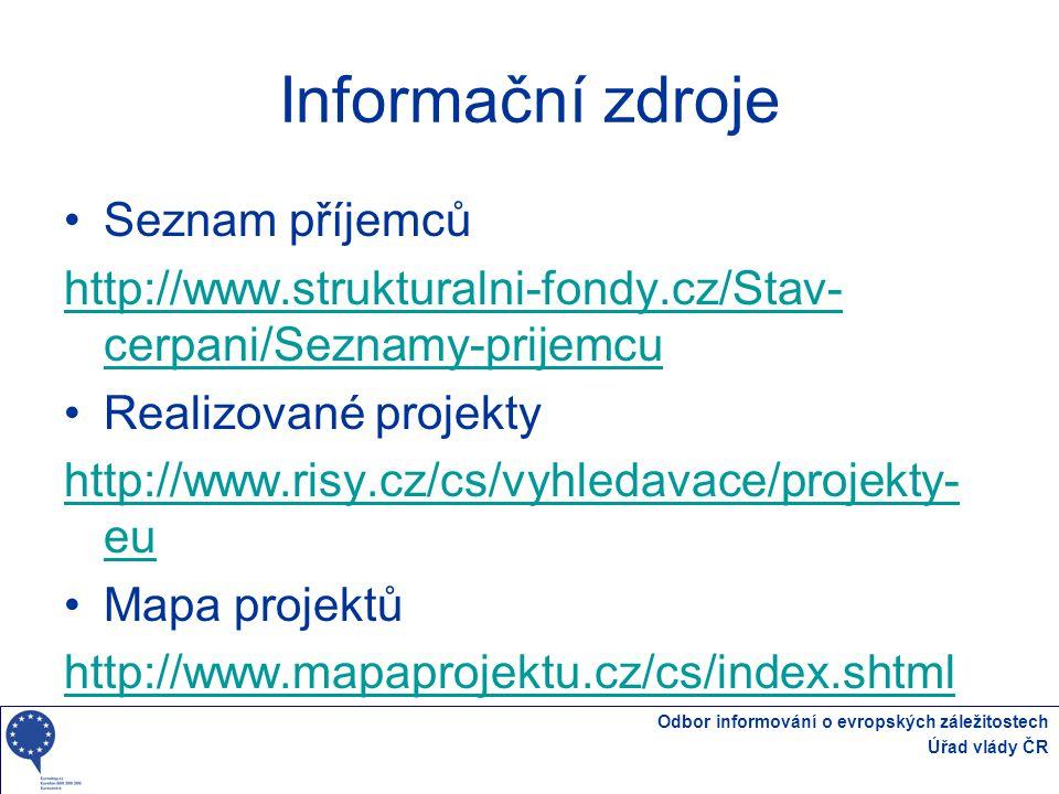 Informační zdroje Seznam příjemců