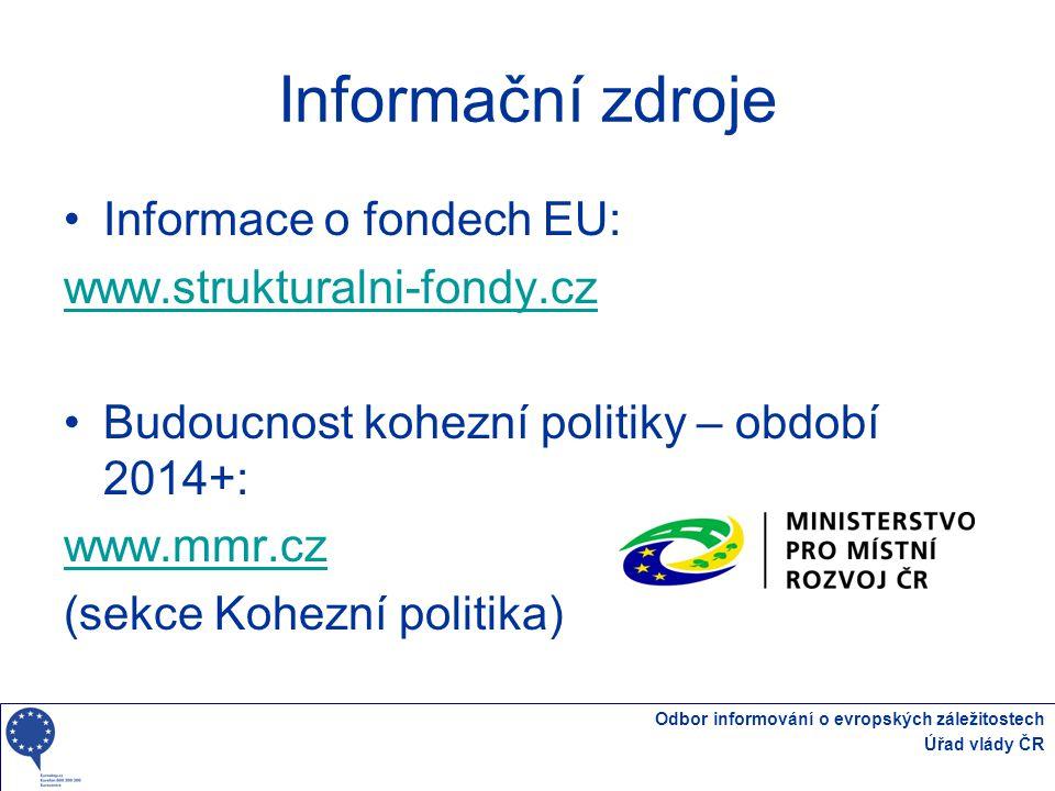 Informační zdroje Informace o fondech EU: www.strukturalni-fondy.cz