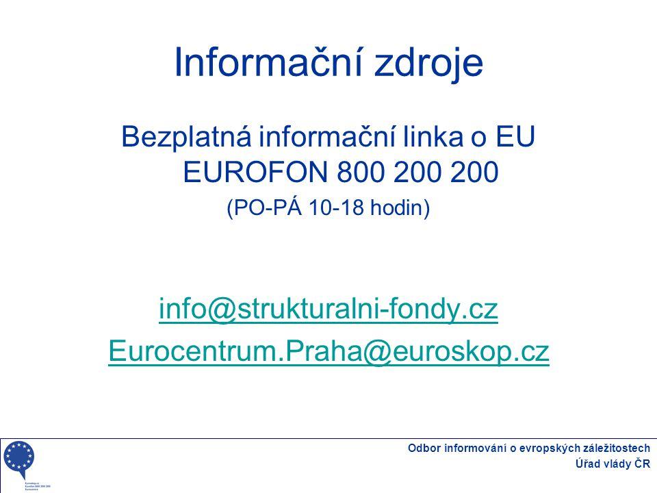 Bezplatná informační linka o EU EUROFON 800 200 200