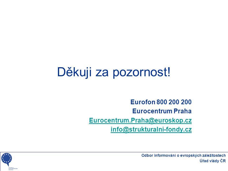 Děkuji za pozornost! Eurofon 800 200 200 Eurocentrum Praha