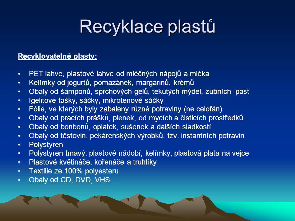 Recyklace plastů Recyklovatelné plasty: