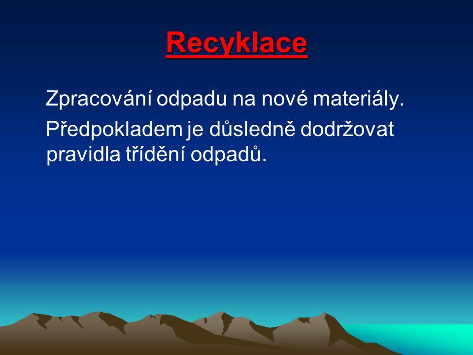 Recyklace Zpracování odpadu na nové materiály.