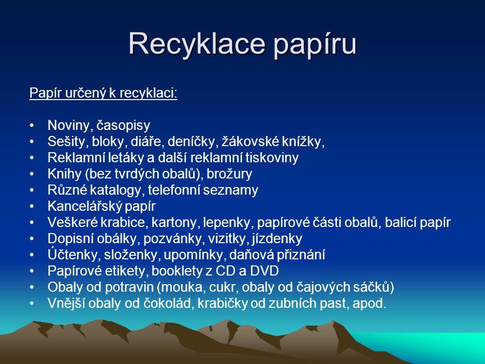 Recyklace papíru Papír určený k recyklaci: Noviny, časopisy