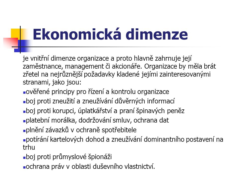 Ekonomická dimenze