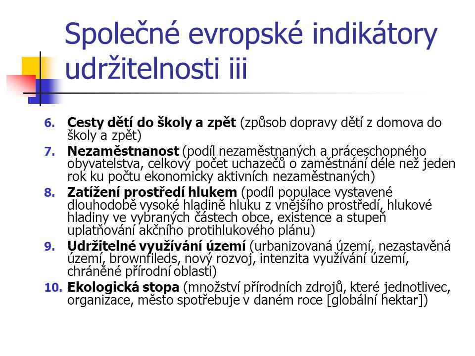 Společné evropské indikátory udržitelnosti iii