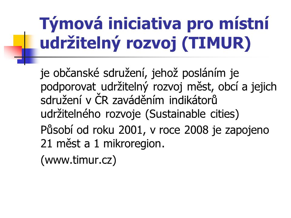 Týmová iniciativa pro místní udržitelný rozvoj (TIMUR)