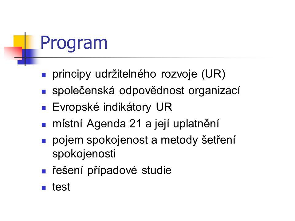 Program principy udržitelného rozvoje (UR)