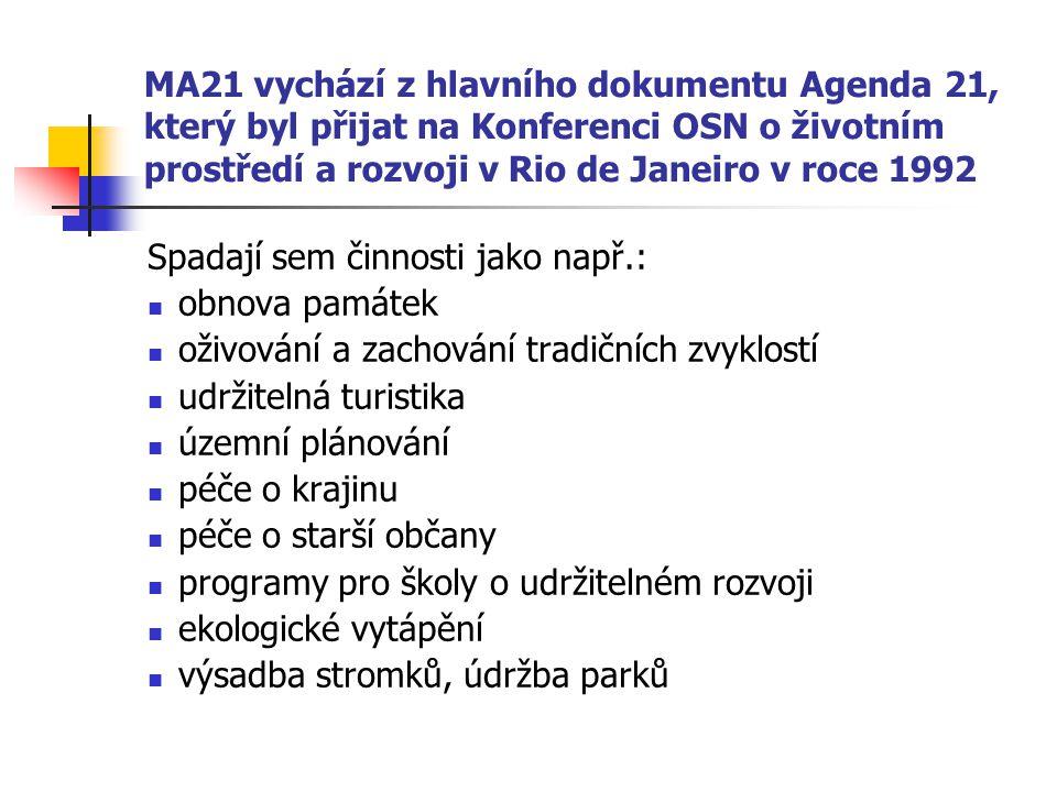 MA21 vychází z hlavního dokumentu Agenda 21, který byl přijat na Konferenci OSN o životním prostředí a rozvoji v Rio de Janeiro v roce 1992