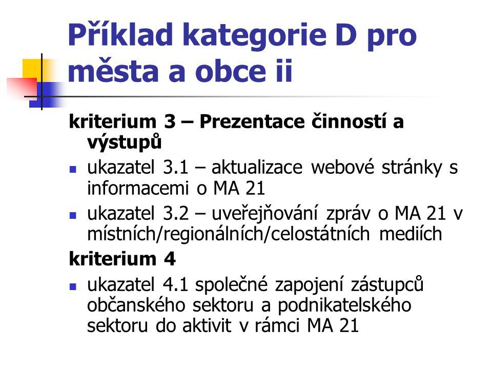 Příklad kategorie D pro města a obce ii