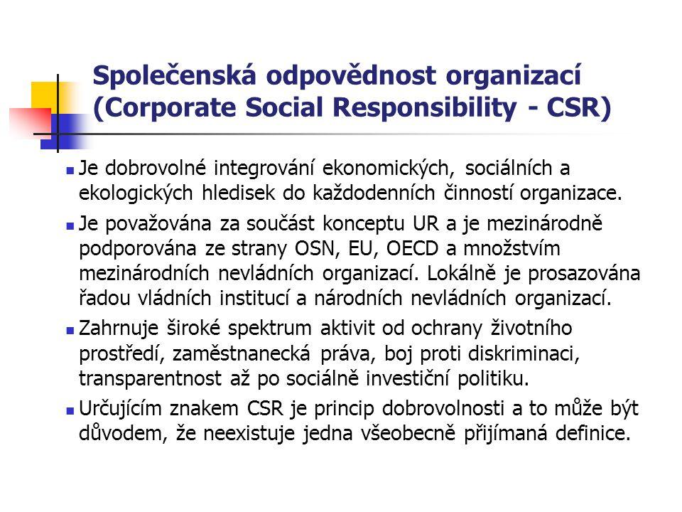 Společenská odpovědnost organizací (Corporate Social Responsibility - CSR)