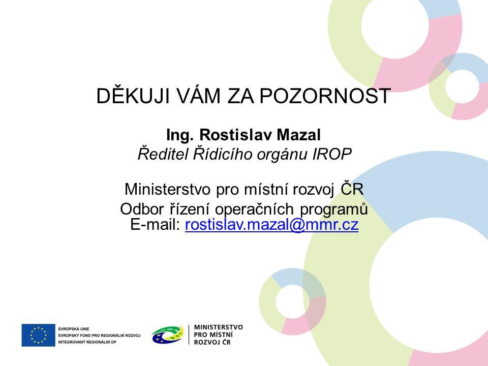DĚKUJI VÁM ZA POZORNOST Ing. Rostislav Mazal