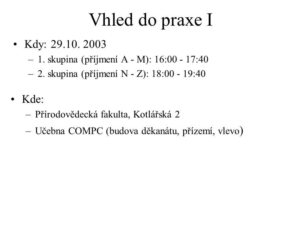 Vhled do praxe I Kdy: 29.10. 2003 Kde: