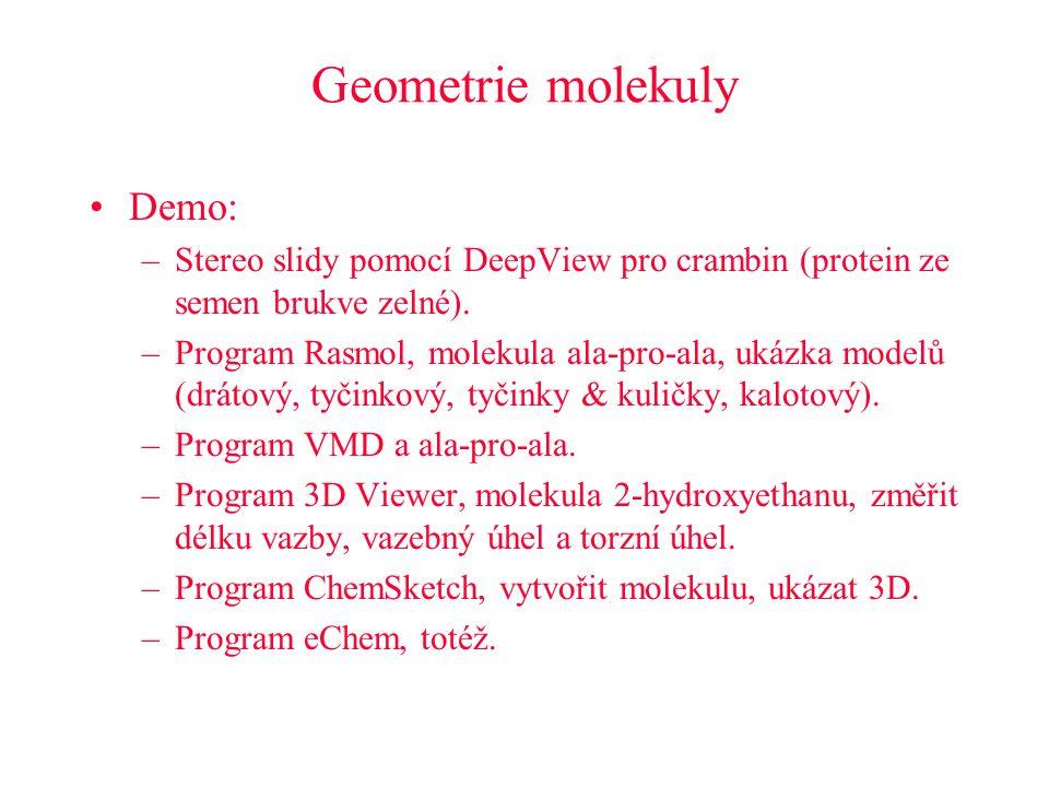Geometrie molekuly Demo: