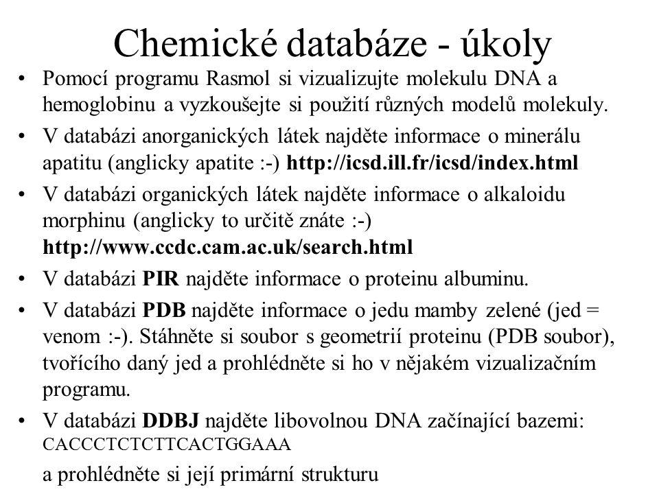Chemické databáze - úkoly