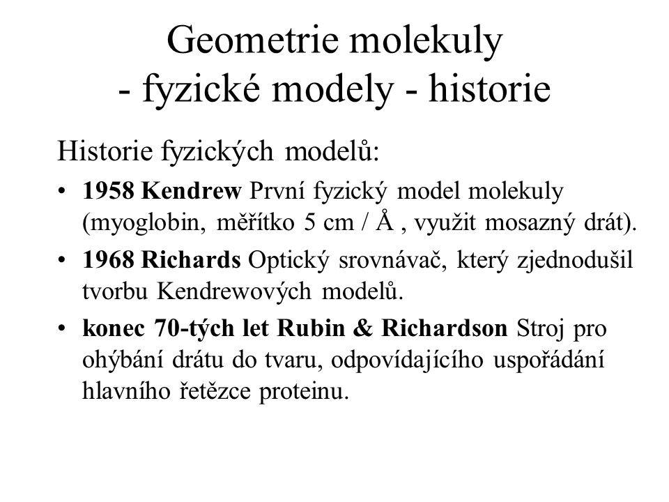 Geometrie molekuly - fyzické modely - historie