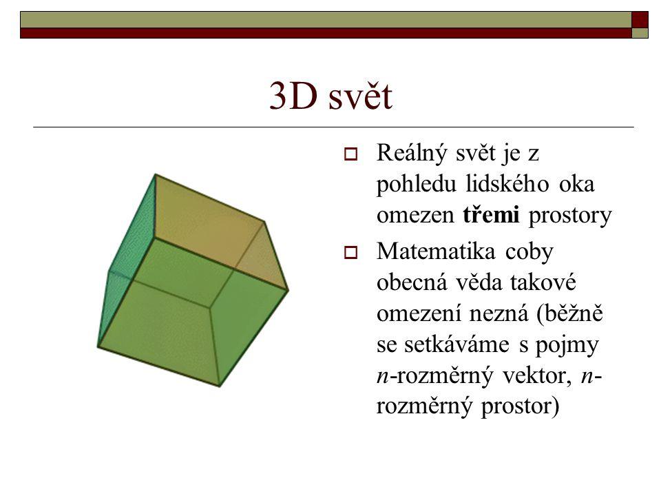 3D svět Reálný svět je z pohledu lidského oka omezen třemi prostory