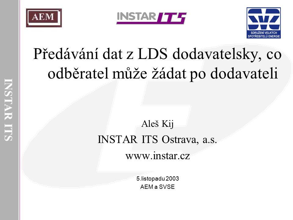 INSTAR ITS Předávání dat z LDS dodavatelsky, co odběratel může žádat po dodavateli. Aleš Kij. INSTAR ITS Ostrava, a.s.