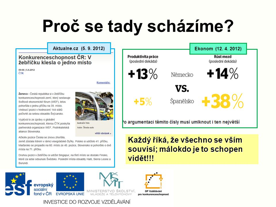 Proč se tady scházíme. Aktualne.cz (5. 9. 2012) Ekonom (12.