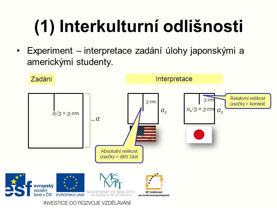 (1) Interkulturní odlišnosti
