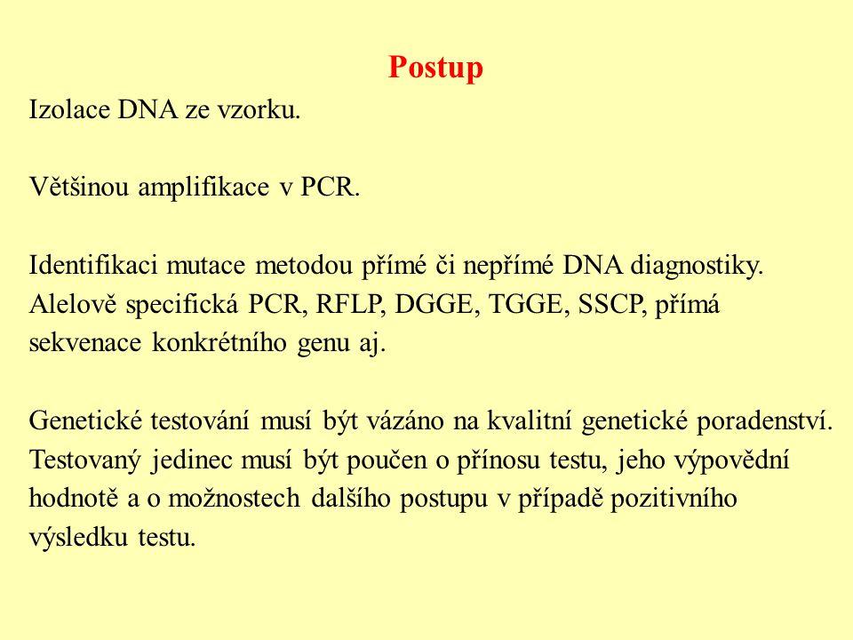Postup Izolace DNA ze vzorku. Většinou amplifikace v PCR.