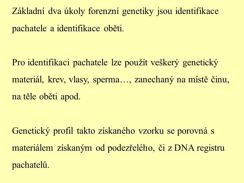 Základní dva úkoly forenzní genetiky jsou identifikace pachatele a identifikace oběti.