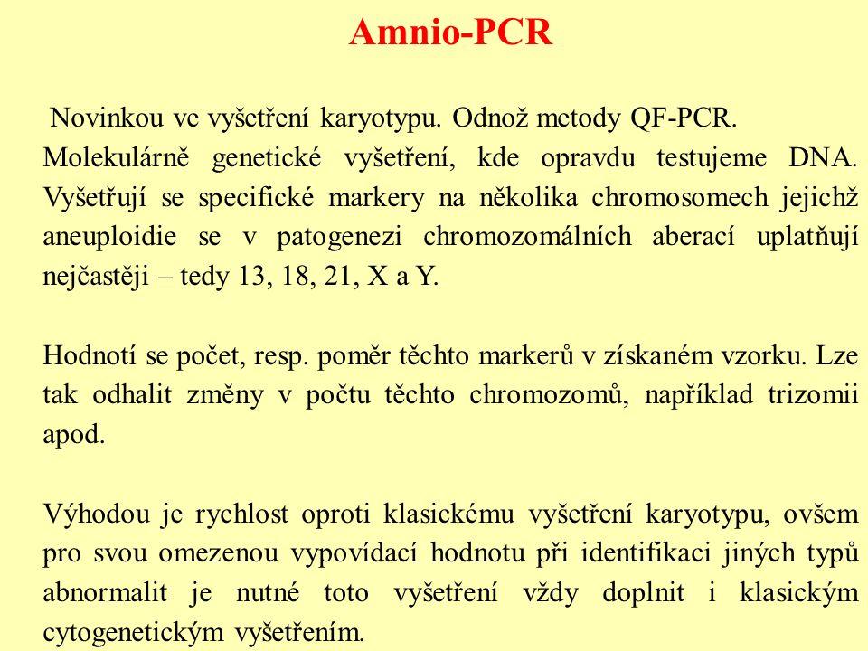 Amnio-PCR Novinkou ve vyšetření karyotypu. Odnož metody QF-PCR.