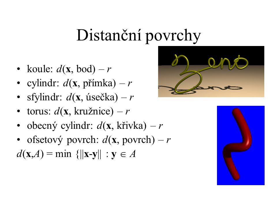 Distanční povrchy koule: d(x, bod) – r cylindr: d(x, přímka) – r