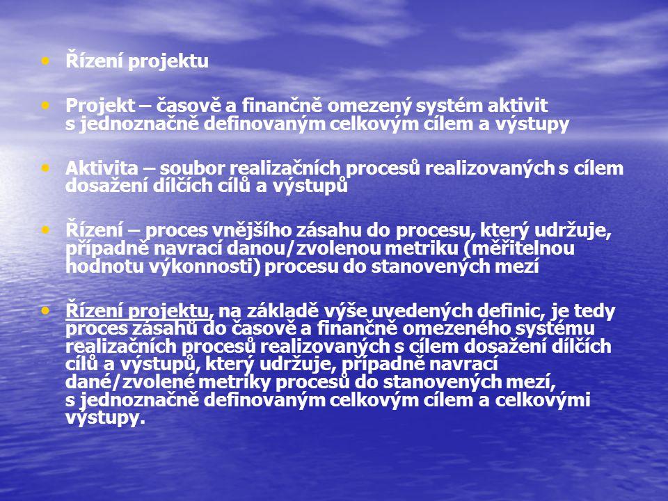 Řízení projektu Projekt – časově a finančně omezený systém aktivit s jednoznačně definovaným celkovým cílem a výstupy.