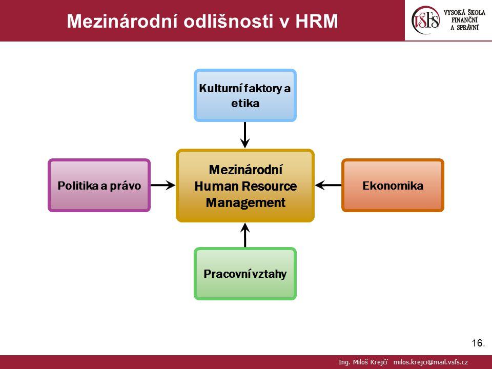 Mezinárodní odlišnosti v HRM