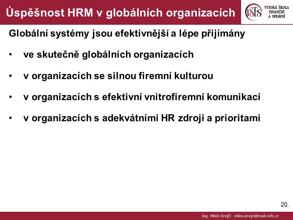 Úspěšnost HRM v globálních organizacích