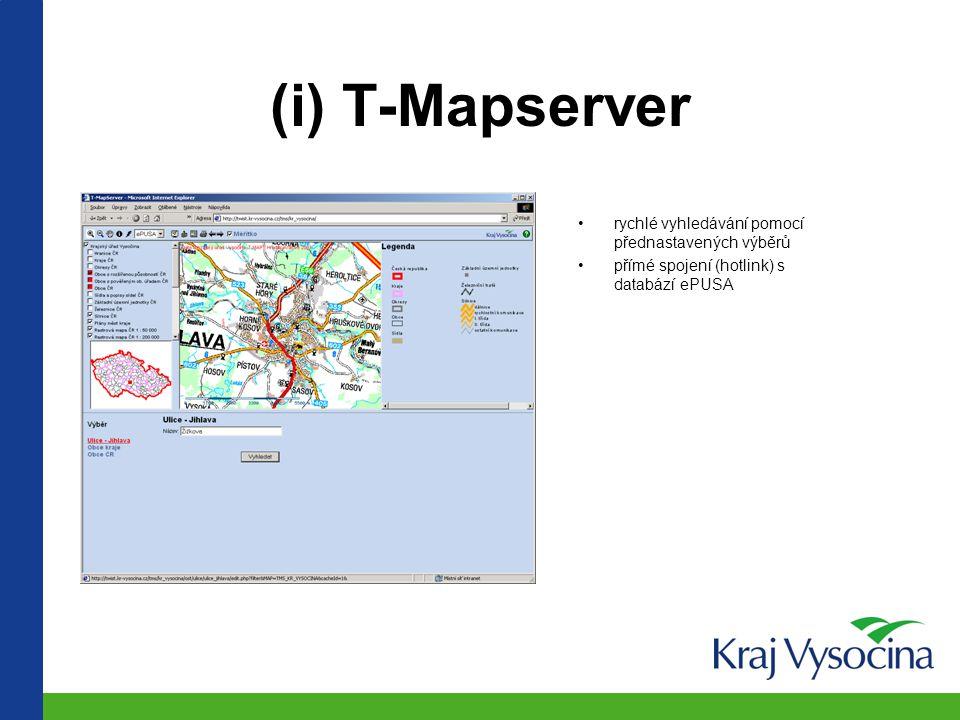 (i) T-Mapserver rychlé vyhledávání pomocí přednastavených výběrů