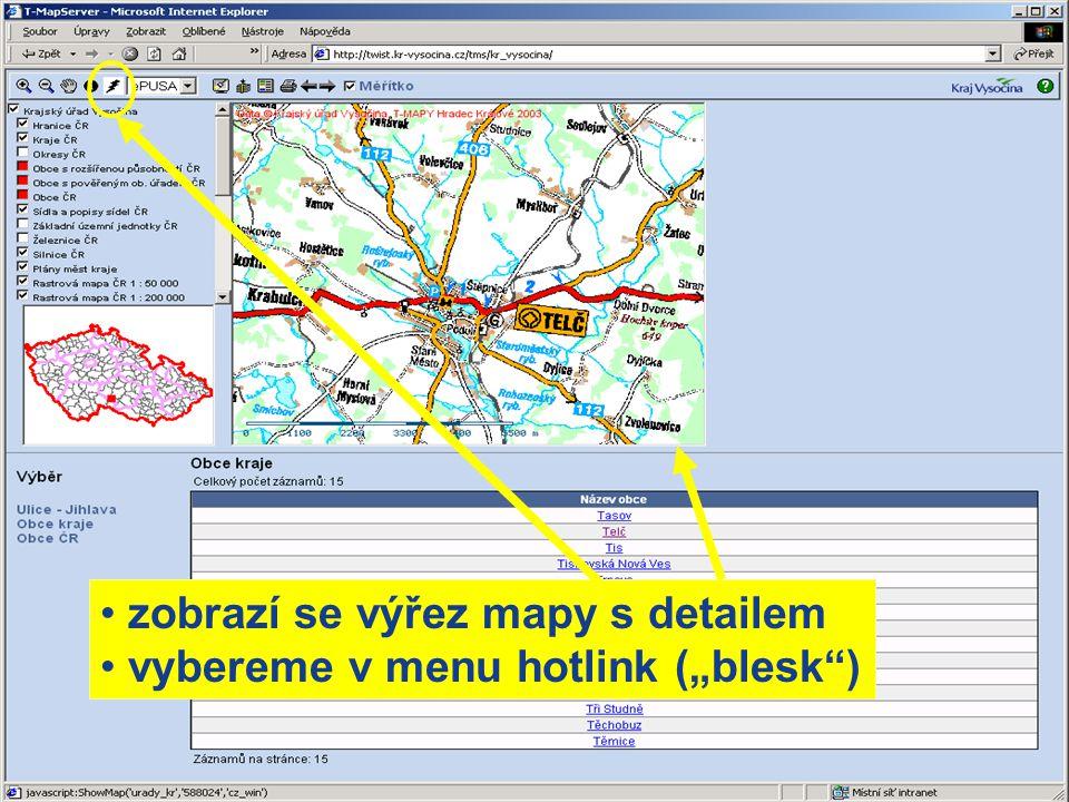 zobrazí se výřez mapy s detailem